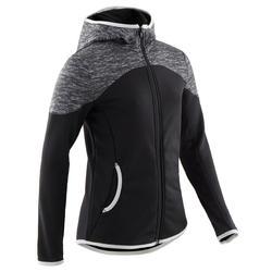 Warme ademende gymhoodie voor meisjes S500 zwart print op schouders synthetisch