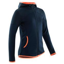 Warm en ademend vest voor gym meisjes S500 synthetisch marineblauw/koraal
