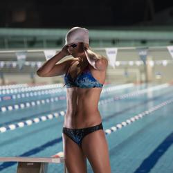 Bikinitop voor zwemmen dames uiterst chloorbestendig Jana leo blauw/koraal