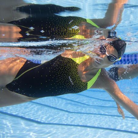Maillot de bain une pièce de natation femme Kamyleon noir jaune