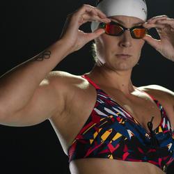 Brassière de natation femme ultra résistante au chlore Jana kal rouge et bleu