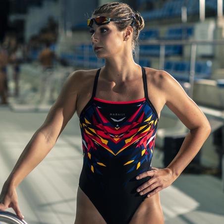 בגד ים שלם לנשים לשחייה - אדום ושחור