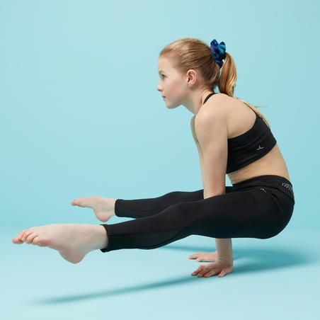 Leggings de gimnasia artística femenina 500 negro con brillo