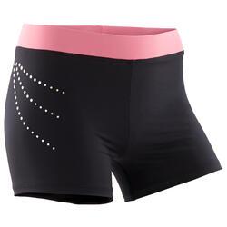 Turnshort voor dames 500 zwart en roze met lovertjes