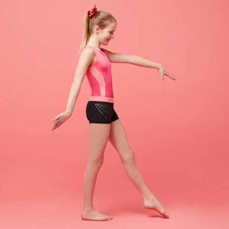 Artistic Gymnastics Shorts 500 - Black/Pink/Sequins
