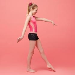 Short de Gymnastique Artistique Féminine 500 noir rose sequins