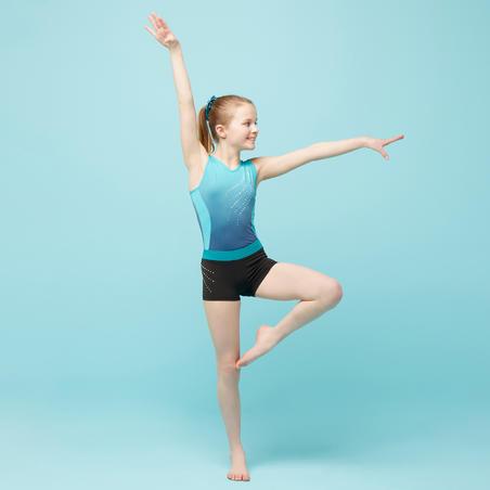 Artistic Gymnastics Shorts 500 - Black/Green/Sequins