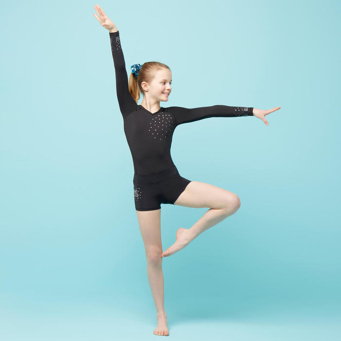 Short de Gymnastique Artistique Féminine 500 noir GYM sequins