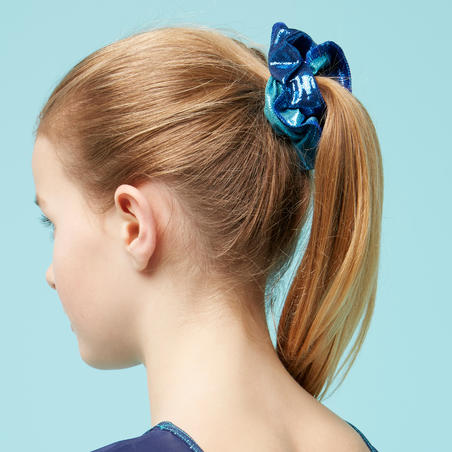 Girls' Artistic Gymnastics Scrunchie - Green Glitter