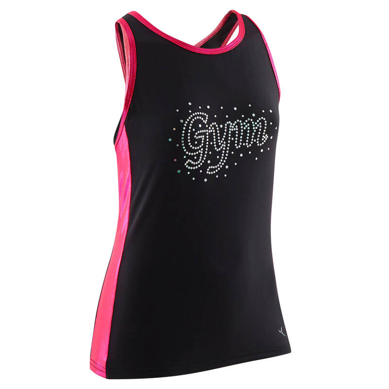 DĚTSKÉ TRIKOTY, OBLEČENÍ NA TANEC Gymnastika - DÁMSKÉ TÍLKO 500 ČERNO-RŮŽOVÉ DOMYOS - Gymnastické oblečení