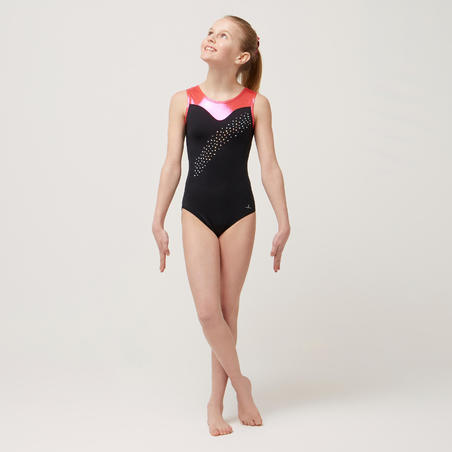 540 Girls' Artistic Gymnastics Sleeveless Leotard - Black/Pink