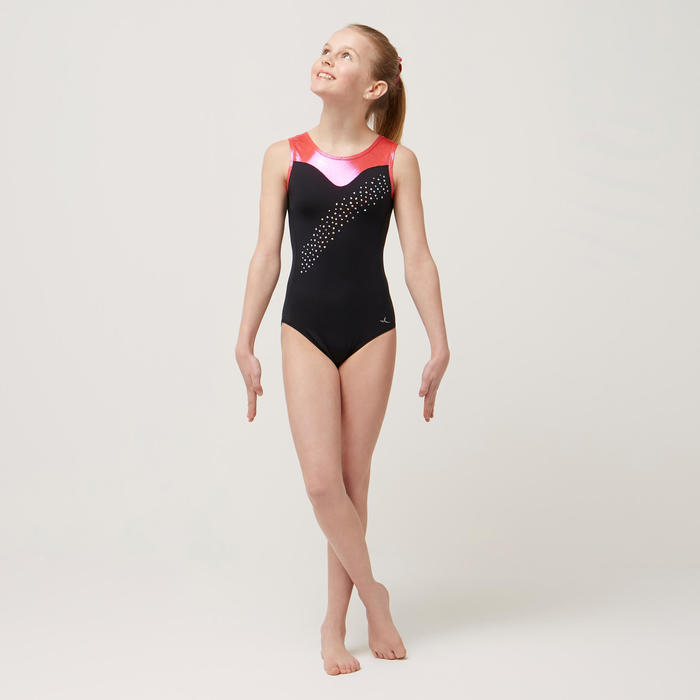 Justaucorps sans manche noir et rose 540 Gymnastique Artistique Féminine