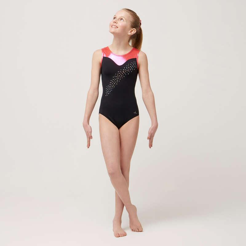 BODY, COSTUM GIMNASTICĂ ARTISTICĂ/RITMICĂ Dans, Gimnastica Artistica si Ritmica - Body 540 gimnastică negru/roz DOMYOS - Gimnastica Artistica, Ritmica