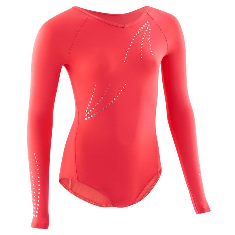 Girls' Artistic Gymnastics Long-Sleeved Leotard - Pink
