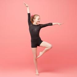 Short de Gymnastique Artistique Féminine 900 noir strass