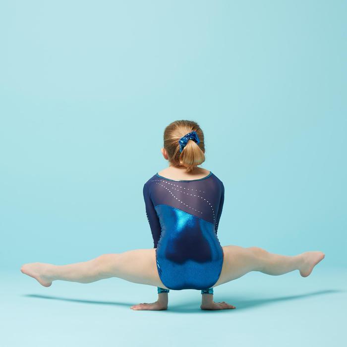 Turnpak met lange mouwen voor toestelturnen dames blauw met strass