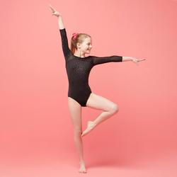 Justaucorps manches longues 3/4 de Gymnastique Artistique Féminine noir