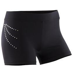 Pantaloncini ginnastica artistica femminile 500 neri con strass