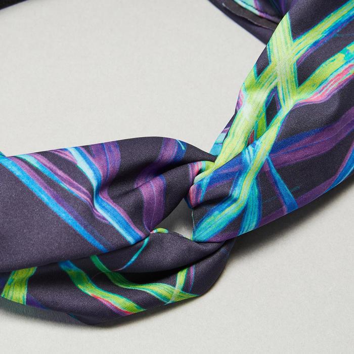 Hoofdband voor cardiofitness dames print marineblauw met elastiek