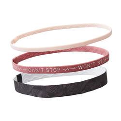 Haarband 3er-Set Fitness Cardio schwarz und rosa