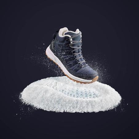 Botas cálidas impermeables senderismo nieve - SH100 X-WARM - Media caña Mujer