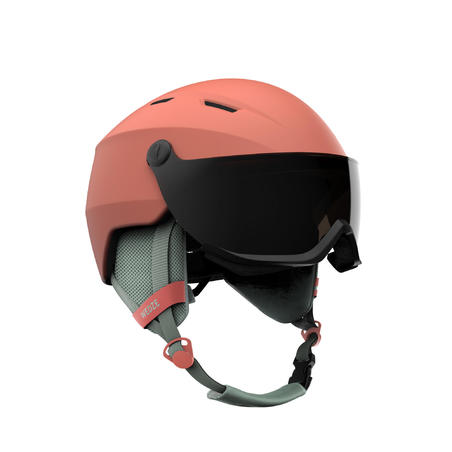 ADULTS' DOWNHILL SKI HELMET WITH VISOR H350 - CORAL
