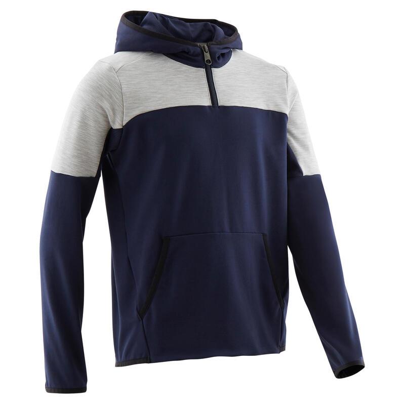 Sweat capuche 1/2 zip chaud, synthétique respirant S500 garçon GYM ENFANT marine
