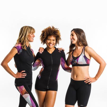 Trumparankoviai moterų vandens gimnastikos marškinėliai