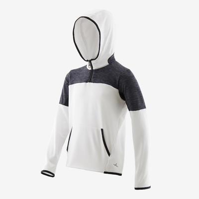 Sweat capuche 1/2 zip chaud, synthétique respirant S500 garçon GYM ENFANT blanc