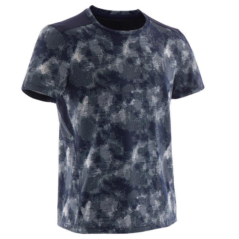 Ademend T-shirt met korte mouwen voor gym jongens S500 synthetisch blauw/print