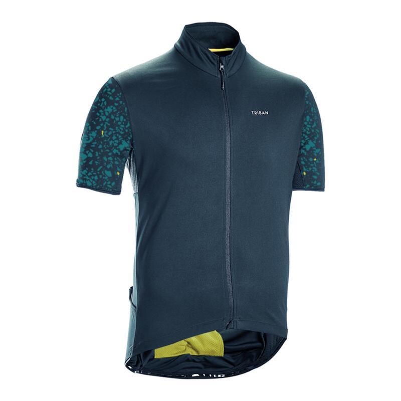 Fietsshirt met korte mouwen voor heren racefietsen RC500 Terrazzo petrolblauw