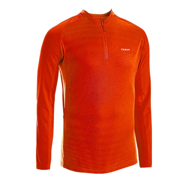 Men's Cycling Anti-UV Long-Sleeved Jersey Essential - Red