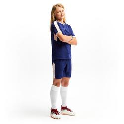 Fussballshorts F500 Kinder Mädchen blau/rosa