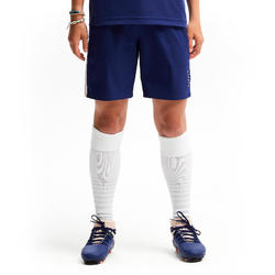 Voetbalshort voor meisjes F500 blauw/roze