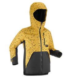 Snowboard- en ski-jas voor kinderen 500 grafische print geel