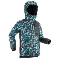 Snowboard- en ski-jas voor dames SNB JKT 500 graph camo grijs/blauw