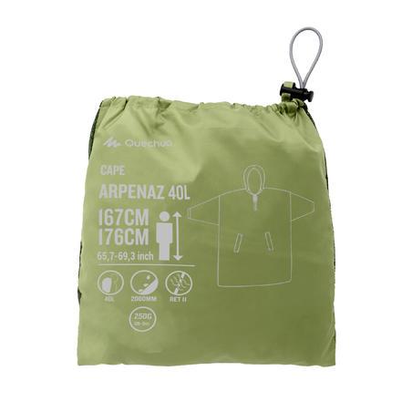 Hiking Rain Poncho - ARPENAZ 40 L - Size S/M - Green