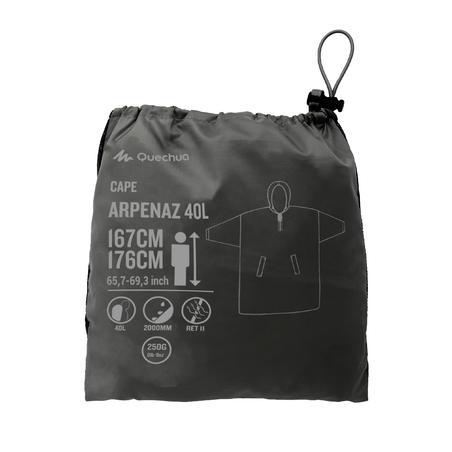 Poncho Montaña y Trekking, Forclaz 40L, Impermeable Adulto, Talla L/XL, Gris