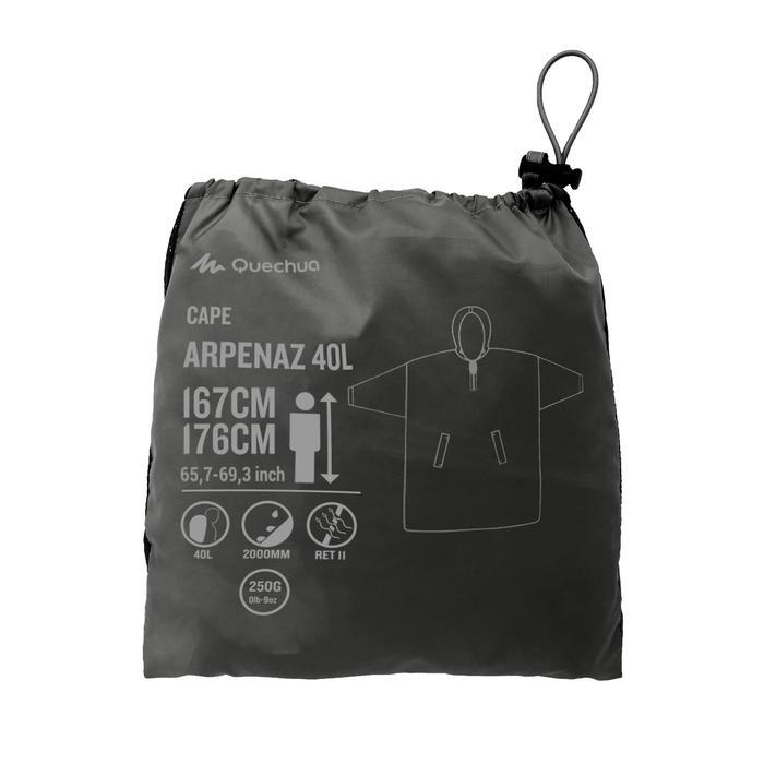 Regenponcho voor trekking Arpenaz 40 l maat S/M grijs