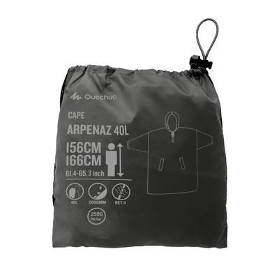 Hiking Rain Poncho - ARPENAZ 40 L - Size XS - Grey