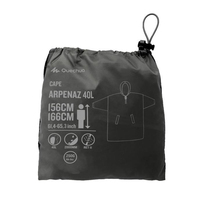 Regenponcho voor trekking Arpenaz 40 l maat XS grijs