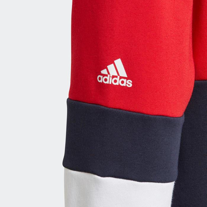 Sweat à capuche garçon bleu et rouge logo sur la poitrine adidas