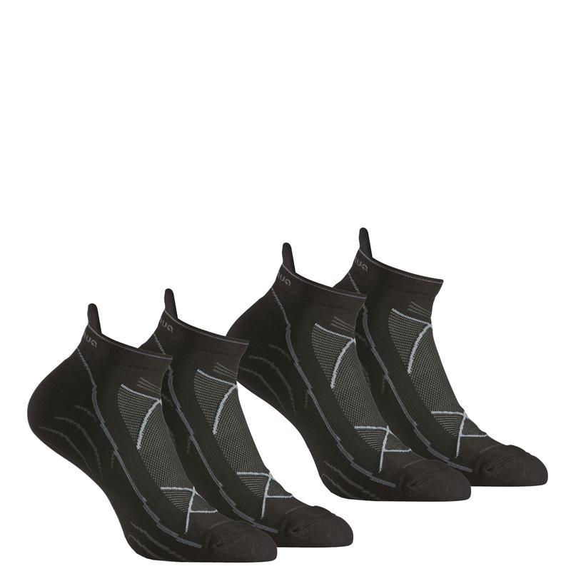 Forclaz 100 adult hiking ultra low cut socks - black