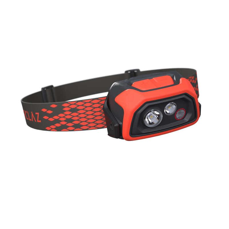 Stirnlampen, Taschenlampen Trekking & Wandern Wandern - Stirnlampe Trek 900 USB V2 rot FORCLAZ - Wanderausrüstung