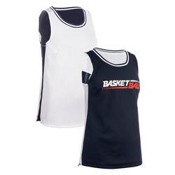 MAILLOT SANS MANCHE DE BASKETBALL REVERSIBLE FEMME NAVY BLANC BBALL T500R