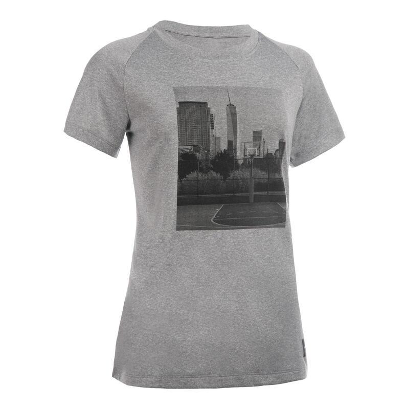 Basketbalshirt voor gevorderde dames TS500 grijs met foto