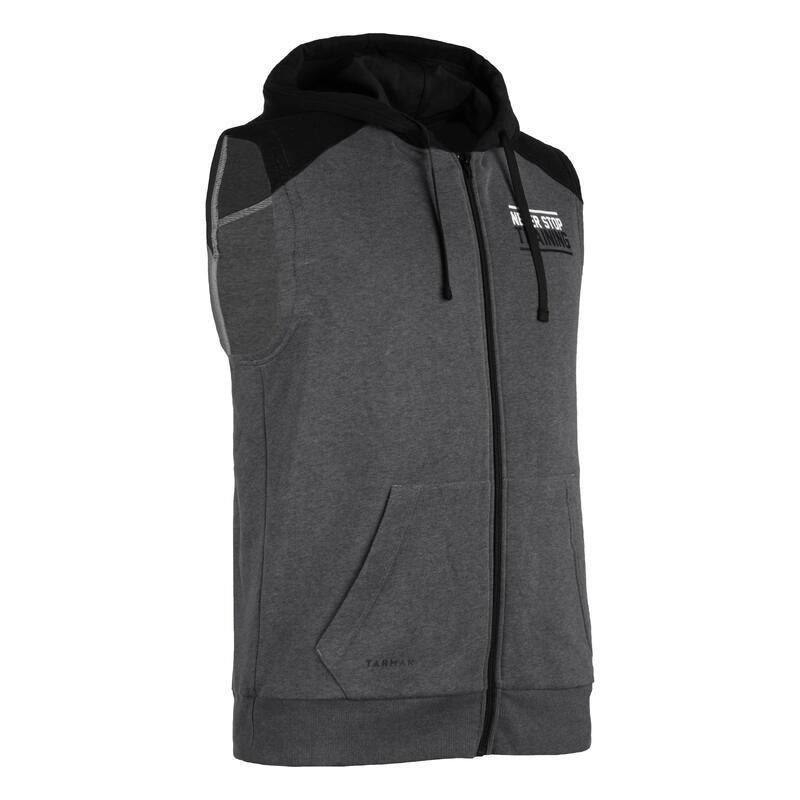 男款無袖連帽外套J100 - 灰色