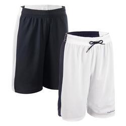 Reversible basketbalshort voor dames wit/marineblauw SH500R
