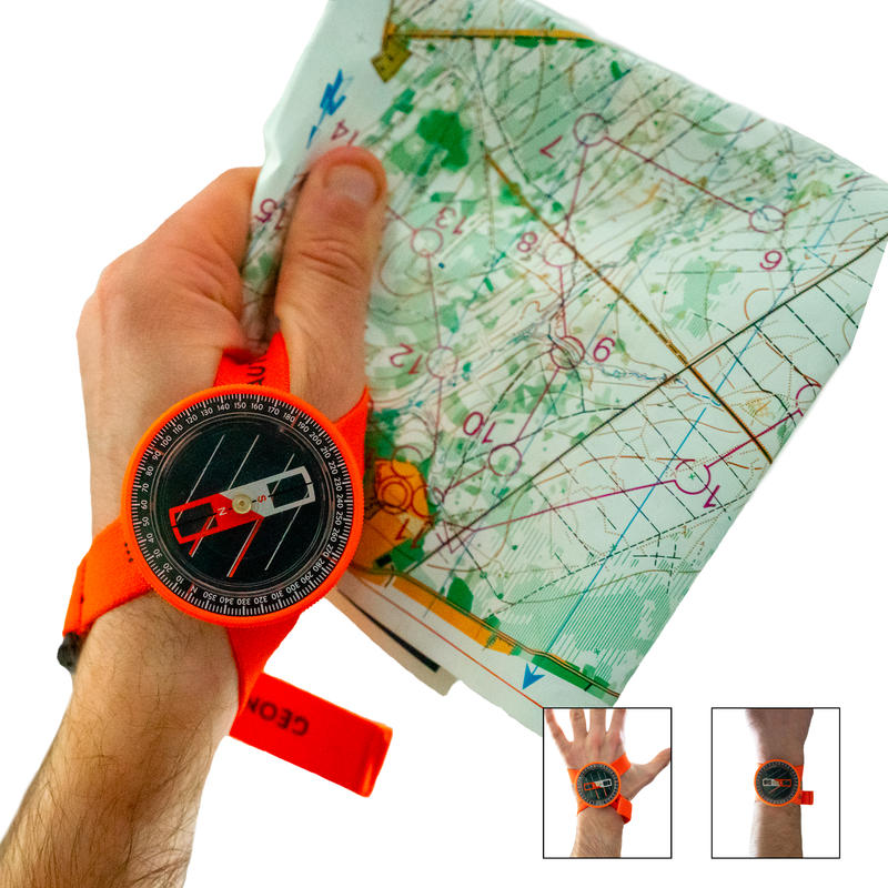 QUICK and STABLE WRIST compass for MULTISPORT adventure racing - orange black