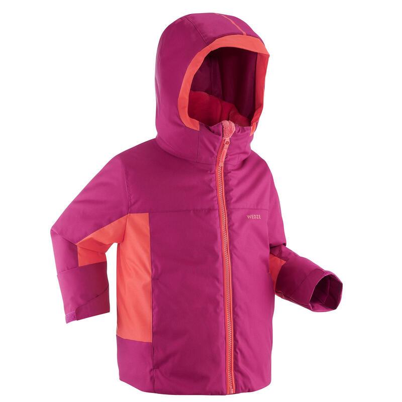KIDS' WARM AND WATERPROOF SKI JACKET 500 PULL'N FIT PURPLE / CORAL